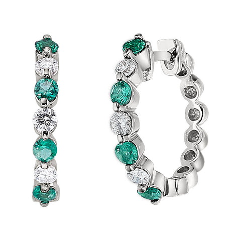 Emerald and Diamond Hoop Earrings, May birthstone jewelry