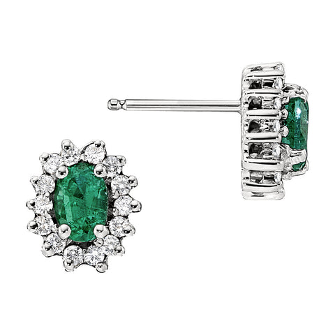 Emerald and Diamond Earrings, may birthstone jewelry, emerald birthstone earrings