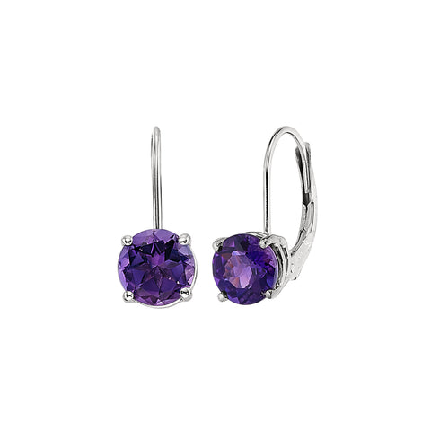 amethyst lever back earrings, February birthstone dangle earrings, Amethyst Birthstone Earrings, Dangle birthstone earrings