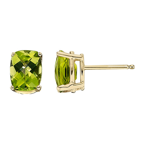 Basic Oval Peridot Studs in 14K