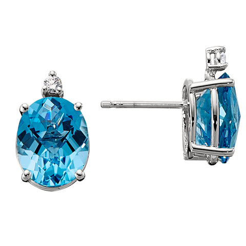 Luxury Blue Topaz Earrings, Big Blue Topaz earrings with diamonds