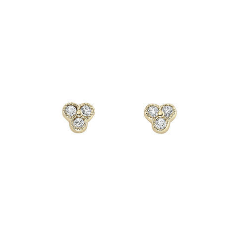 Small Diamond Earrings with Millgrain
