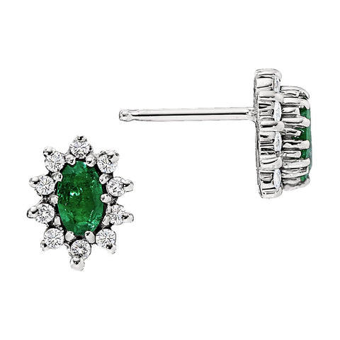 Halo Emerald and Diamond Earrings, May birthstone earrings, emerald birthstone earrings, emerald halo earrings
