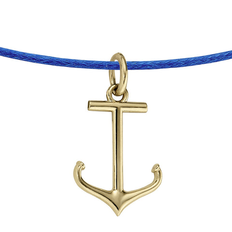 14K Yellow Gold Anchor Pendant on Leather Chain