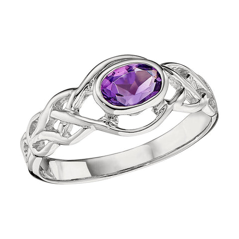 Celtic Knot Colored Stone Ring shown in Amethyst