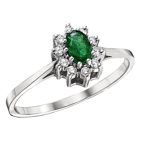Emerald and Diamond Halo Ring, Princess Di Ring in Emerald, Halo Emerald Ring, May Birthstone, Emerald Birthstone