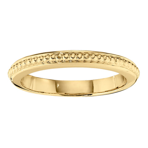 Stackable Beaded Solid Gold Wedding Bands