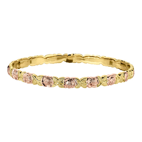 Jabel's B101- 5mm Pink and Green Gold Thicker Bracelet