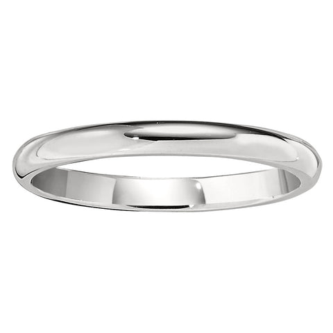 2MM Low Domed Wedding Band in 18K White Gold