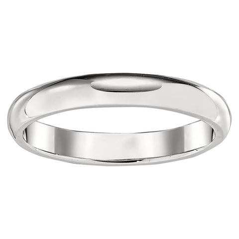 3MM Low Domed Wedding Band in 18K White Gold