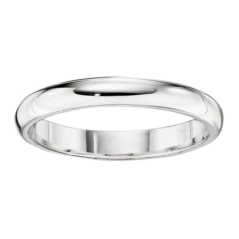 3MM Medium Domed Wedding Band in 18K White Gold