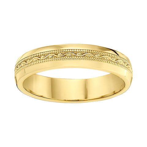 all gold vintage wedding bands, engraved vintage style wedding bands, Jabel wedding bands with engravings
