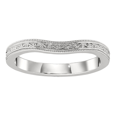 vintage style wedding rings, vintage wedding bands, engraved curved wedding bands, curved wedding bands with engravings