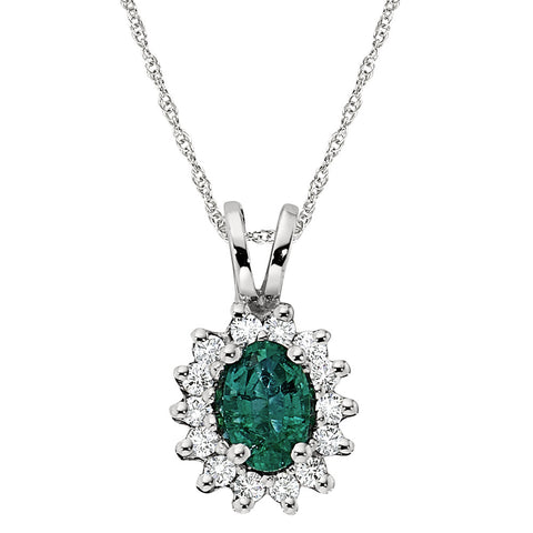Emerald and Diamond Pendant, Emerald Halo Pendant, Princess Di Pendant, May Birthstone Jewelry, Emerald Birthstone