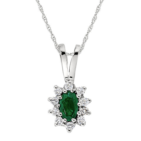 Emerald and Diamond Halo Pendant, May Birthstone Jewelry, Emerald Birthstone Jewelry