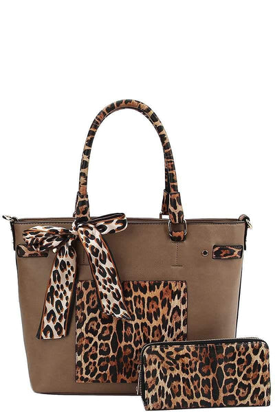Yushikas Boutique 2in1 Leopard Two Tone Scarf Tote Bag With Matching Wallet