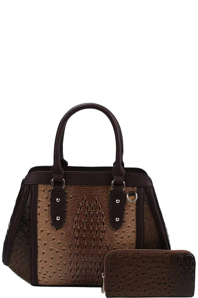 Yushikas Boutique 2in1 Two Tone Croco Pattern Satchel With Matching Wallet