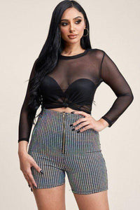 Yushikas Boutique 3/4 Sleeve Solid Power Mesh Top And Holographic Shorts