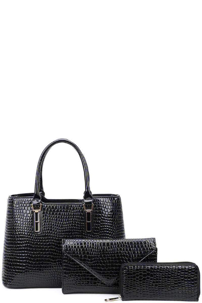 Yushikas Boutique 3in1 Glossy Croco Textured Satchel Clutch And Wallet Set