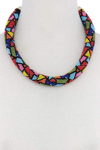 Yushikas Boutique Abstract Pattern Seed Bead Necklace