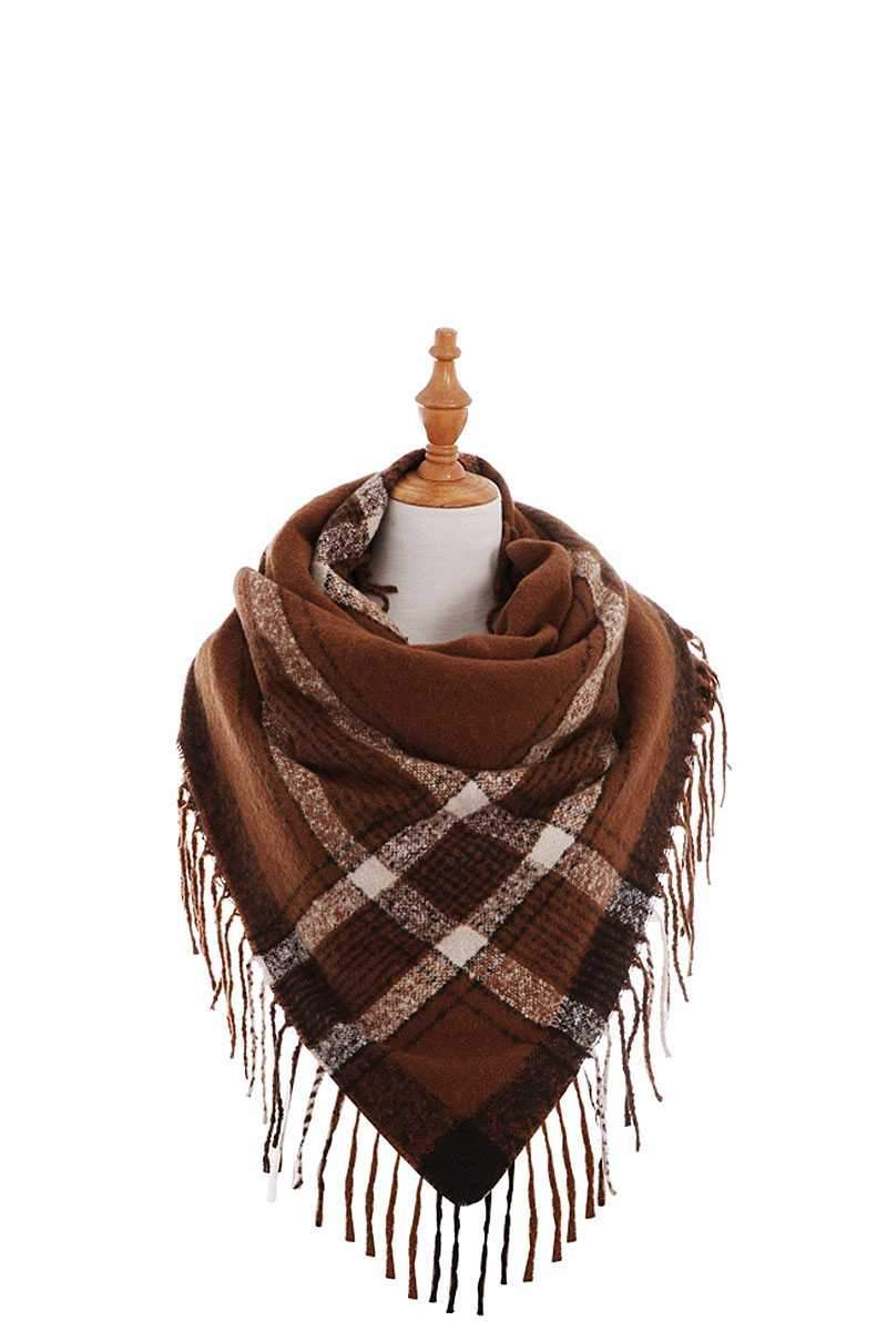 Yushikas Boutique Brick Trendy Color Block Check Square Scarf With Fringe