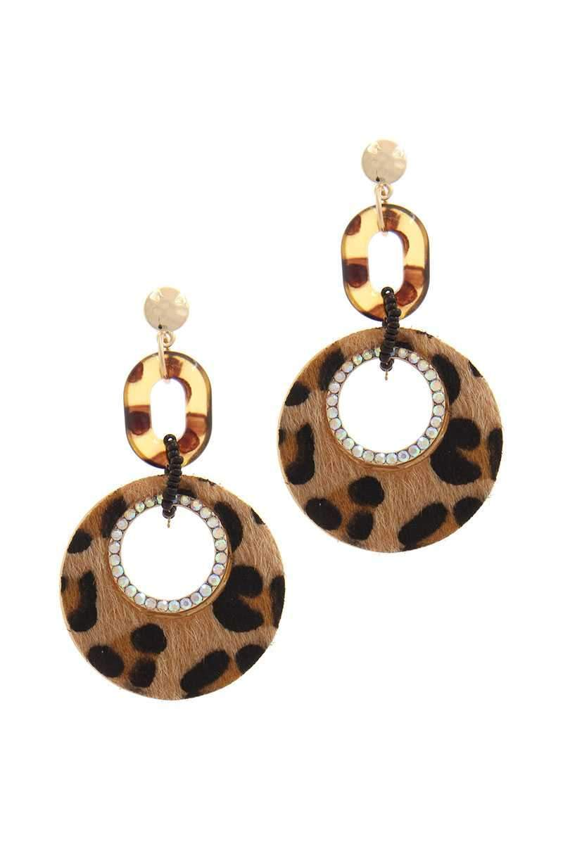 Yushikas Boutique Brown Cut Out Circle Fur Post Drop Earring