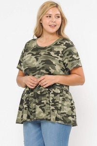 Yushikas Boutique Camo Print With Babydoll Short Sleeve Top