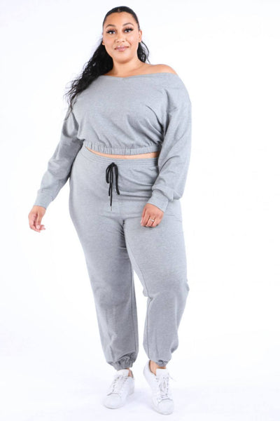 Yushikas Boutique Casual Crop Jogger Set