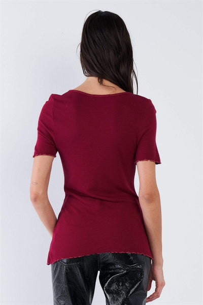 Yushikas Boutique Cherry Red Ribbed V-neck Top
