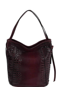 Yushikas Boutique Chillx Fashion Croco Pattern Convertible Bucket Hobo Bag