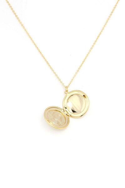 Yushikas Boutique Circle Locket Metal Necklace