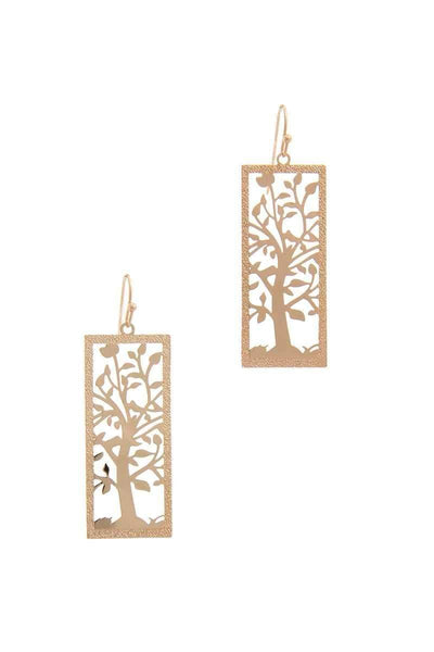 Yushikas Boutique Cut Out Tree Brass Drop Earring