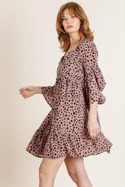 Yushikas Boutique Dalmatian Print Ruffle Bell Sleeve Sweetheart Neckline Dress