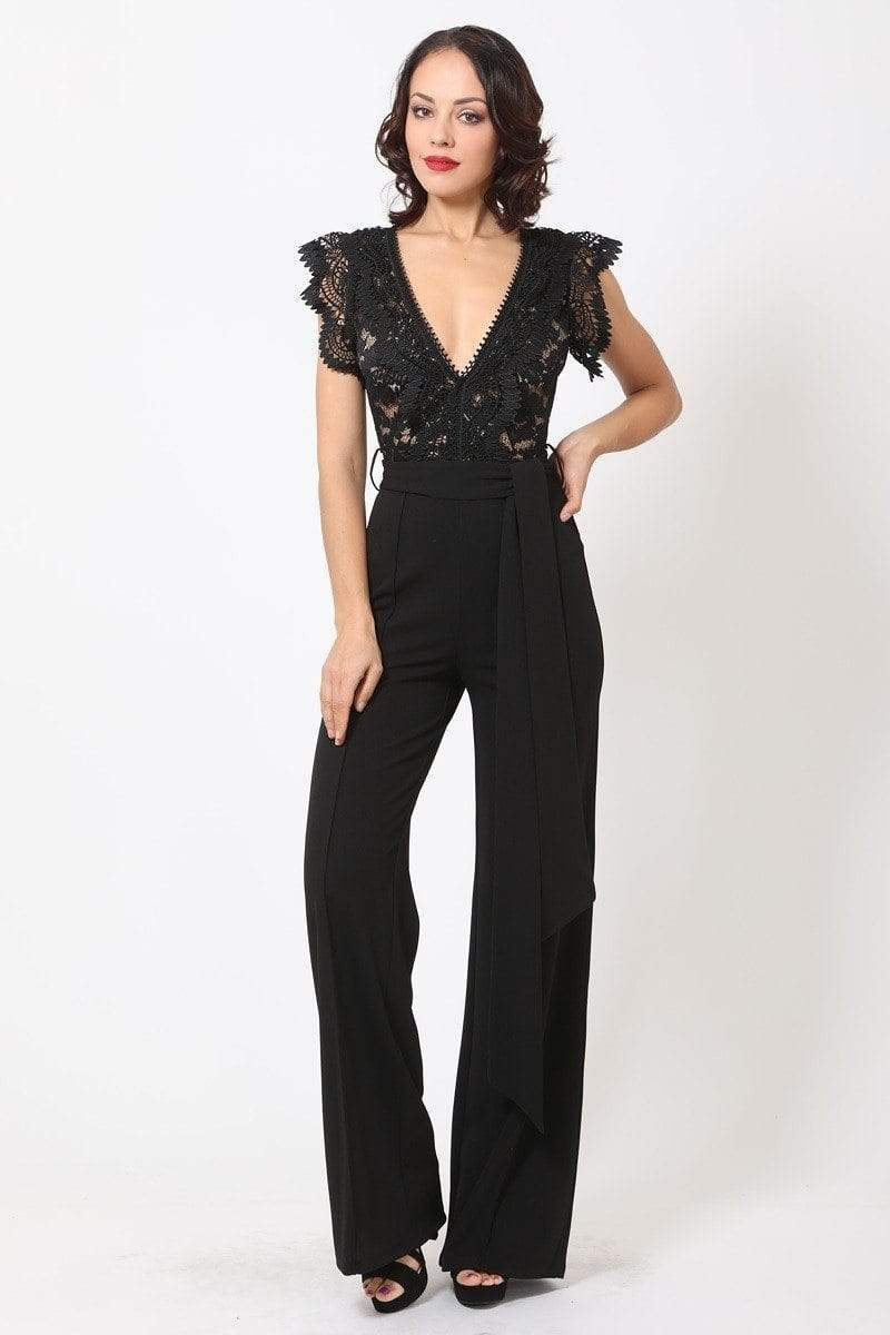 Yushikas Boutique Deep V-neck Crotchet Detail Jumpsuit