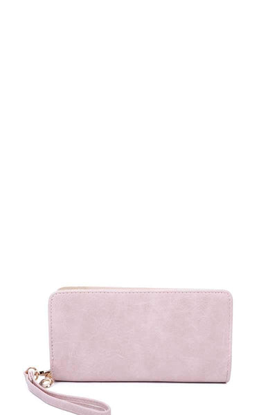 Yushikas Boutique Designer Fashion Solid Color Wallet With Hand Strap