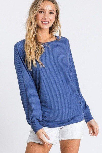 Yushikas Boutique Dolman Long Sleeve Ribbed Top With Banded Hem