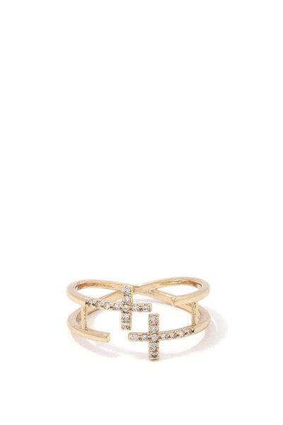 Yushikas Boutique Double Cross Ring