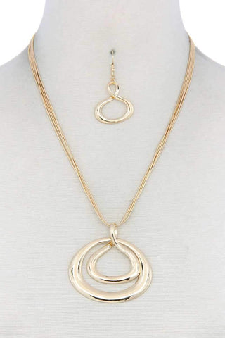 Yushikas Boutique Double Oval Shape Pendant Necklace