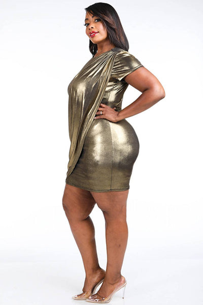 Yushikas Boutique Draped Metallic Mini Dress