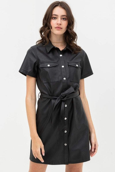 Yushikas Boutique Dress With Over Shirt Silhouette Made From Pleather