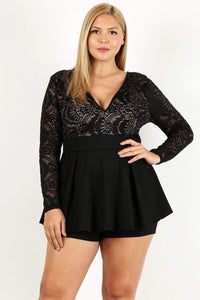 Yushikas Boutique Duo Fabric Romper With Lace Detail, Peplum Bodice, And V-neckline