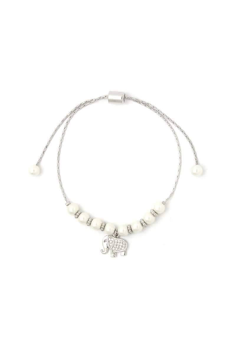 Yushikas Boutique Elephant Charm Beaded Adjustable Bracelet