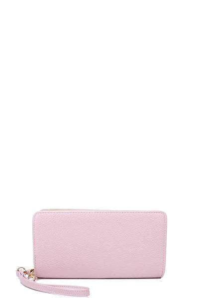 Yushikas Boutique Fashion Solid Color Double Side Long Wallet With Hand Strap
