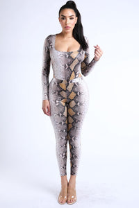 Yushikas Boutique Foiled Snake Printed Bodysuit Leggings Sets