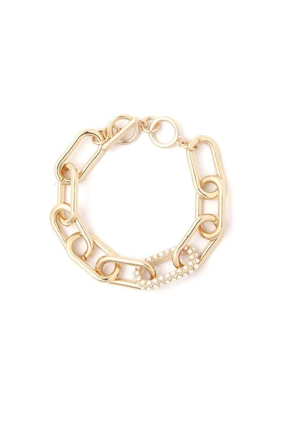 Yushikas Boutique Gold Pearl Oval Shape Metal Bracelet