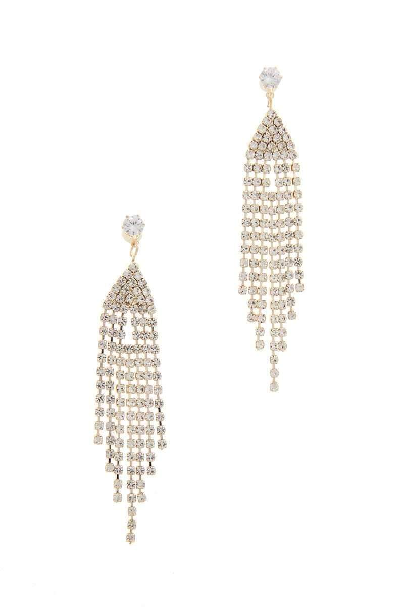 Yushikas Boutique Gold Rhinestone Drop Earring