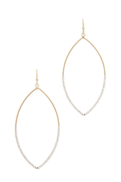 Yushikas Boutique Gold/Silver Beaded Pointed Oval Drop Earring