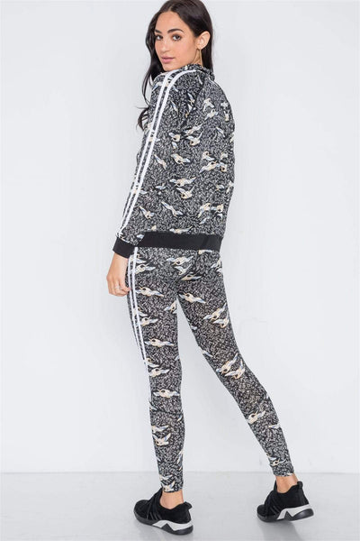 Yushikas Boutique Grey Black Mesh Active Two Piece Legging Jacket Set