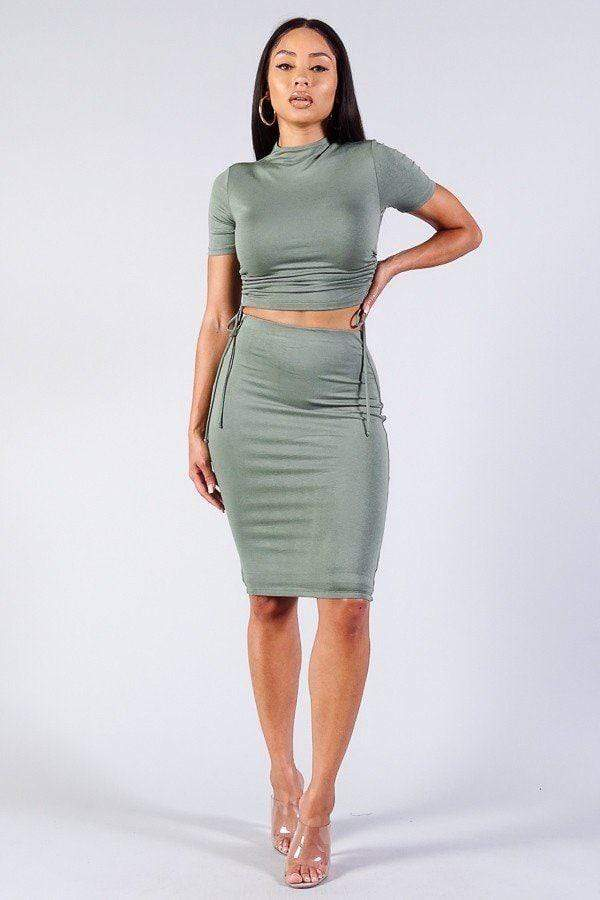 Yushikas Boutique High Neck Short Sleeve Ruched Tee & High-waisted Midi Skirt Set