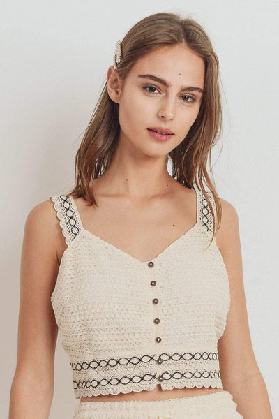 Yushikas Boutique Knit Laced Buttoned Shoulder Strap Top